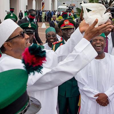 Buhari and Osinbajo at Nigeria 55th independence day.