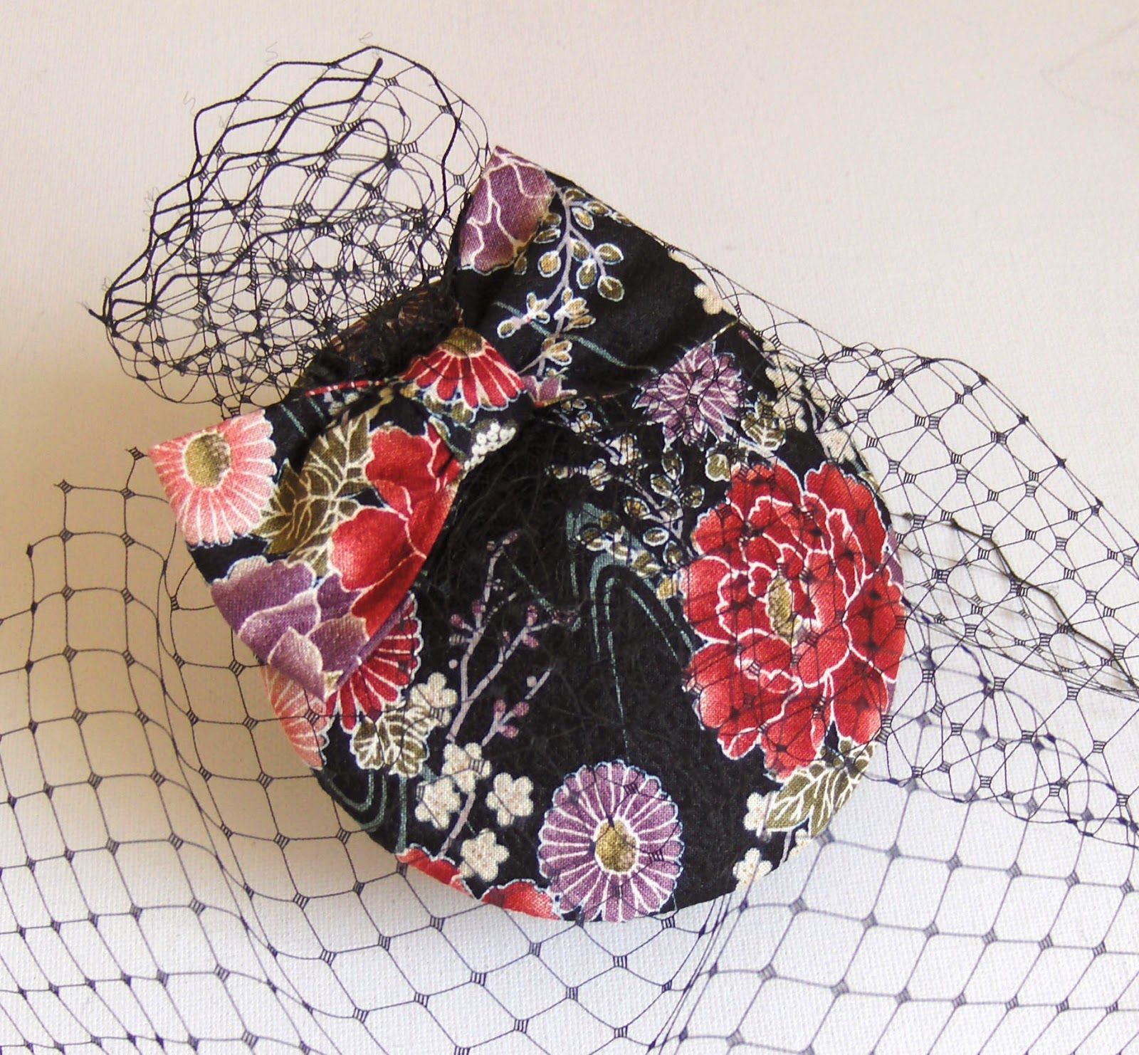http://folksy.com/items/4415505-Cocktail-hat-kimono-silk-black-with-red-roses-
