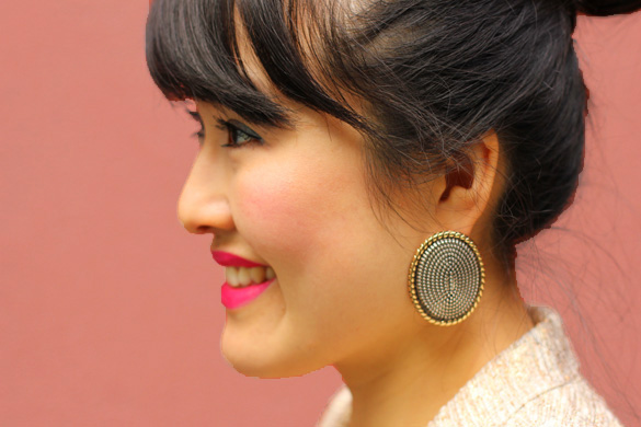Silver Gold Metallic Oversized Mouche Earrings