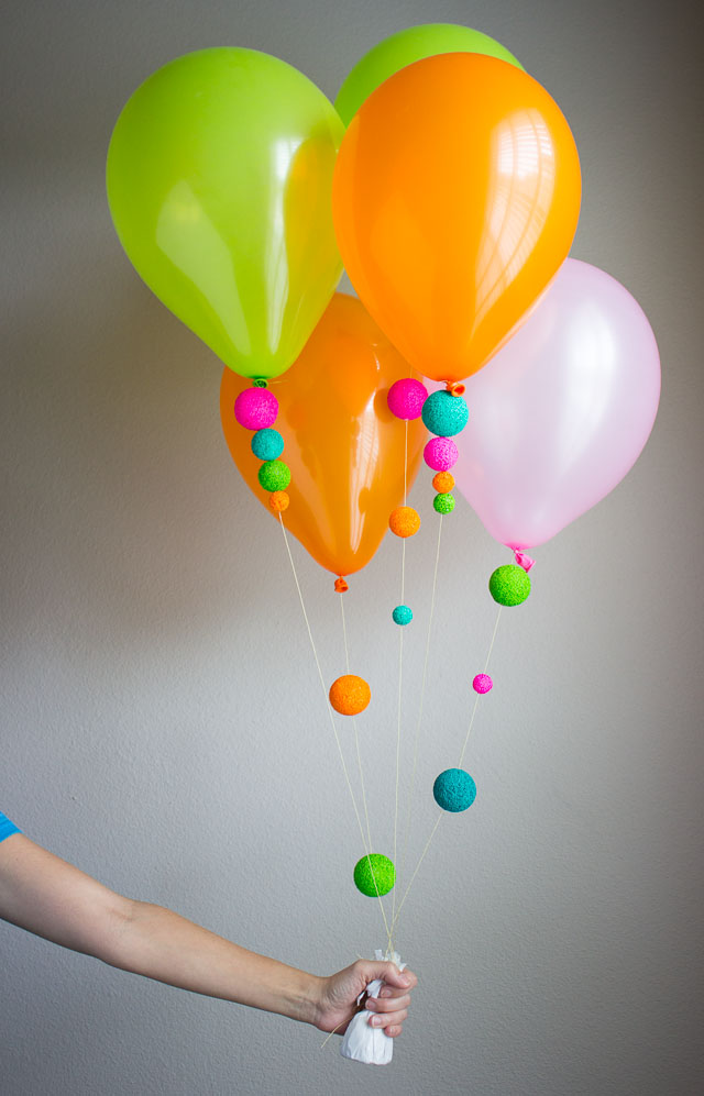 A fun way to decorate balloons design improvised for Balloon string decorations