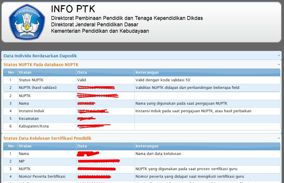 Setelah login berhasil, tampilan info PTK seperti ini :