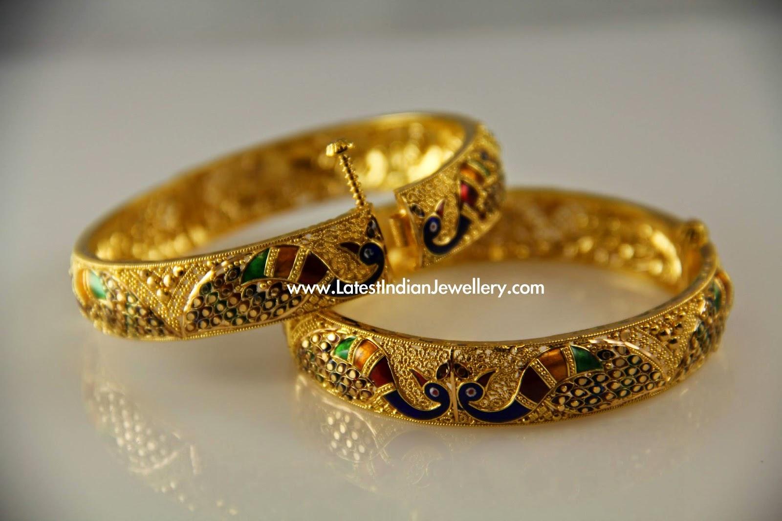 Peacock Design Meenakari Gold Bangles