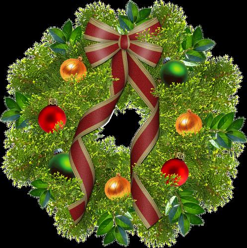 ilustracion corona de navidad con fondo transparente