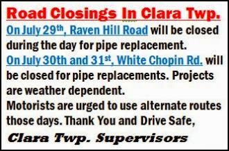 7-29/30/31 Clara Township Road Closings