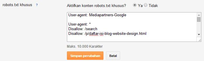 mencekal URL melalui robots-txt
