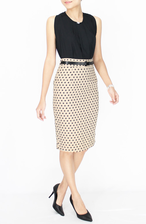 Cream Polka Dot Pencil Knee Length Skirt