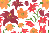 The Lilies in Red Pattern by Haidi Shabrina