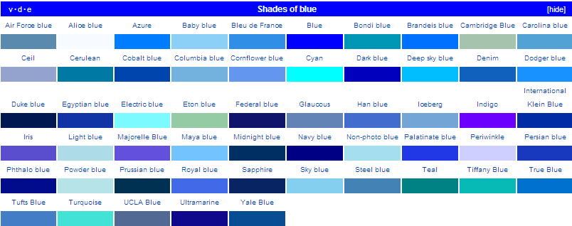 All shades of blue names pictures to pin on pinterest for Shades of blue colours