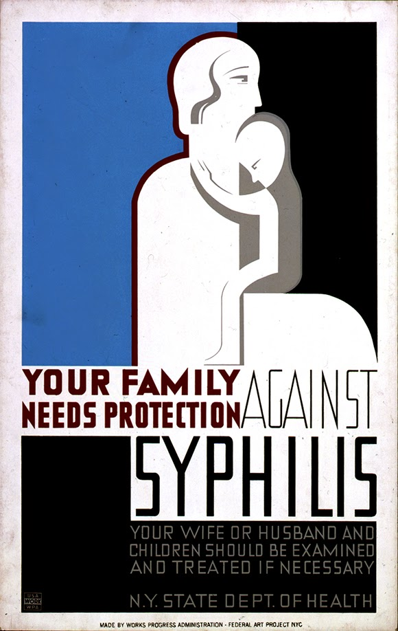 advertising, art, classic posters, free download, free printable, graphic design, printables, public health, public service announcement, retro prints, syphilis, vintage, vintage posters, vintage printables, wpa, Your Family Needs Protect Against Syphilis - Public Health Vintage Poster
