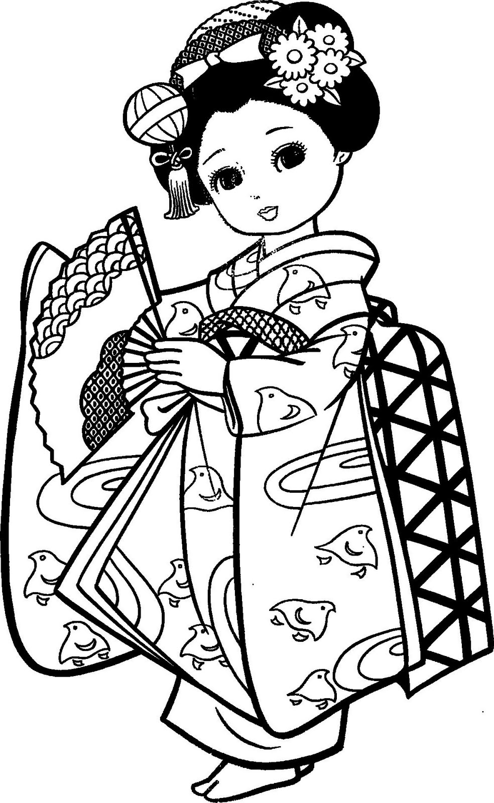 Geisha Kimono Coloring Pages Coloring Pages Geisha Coloring Pages