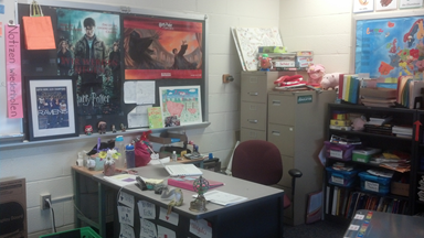 My Desk, To The Right Of The Dry Erase Board. Storage Room And Reference  Books Behind Me, My Computer Desk, And A Smaller Desk Next To It Because,  ...