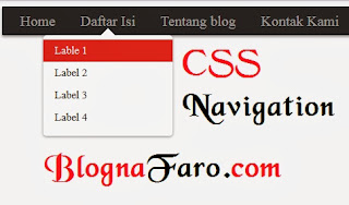 Preview cara membuat menu navigasi CSS blogger