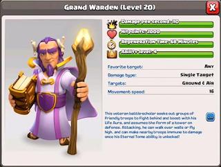 spesifikasi grand warden hero coc tawn hall 11