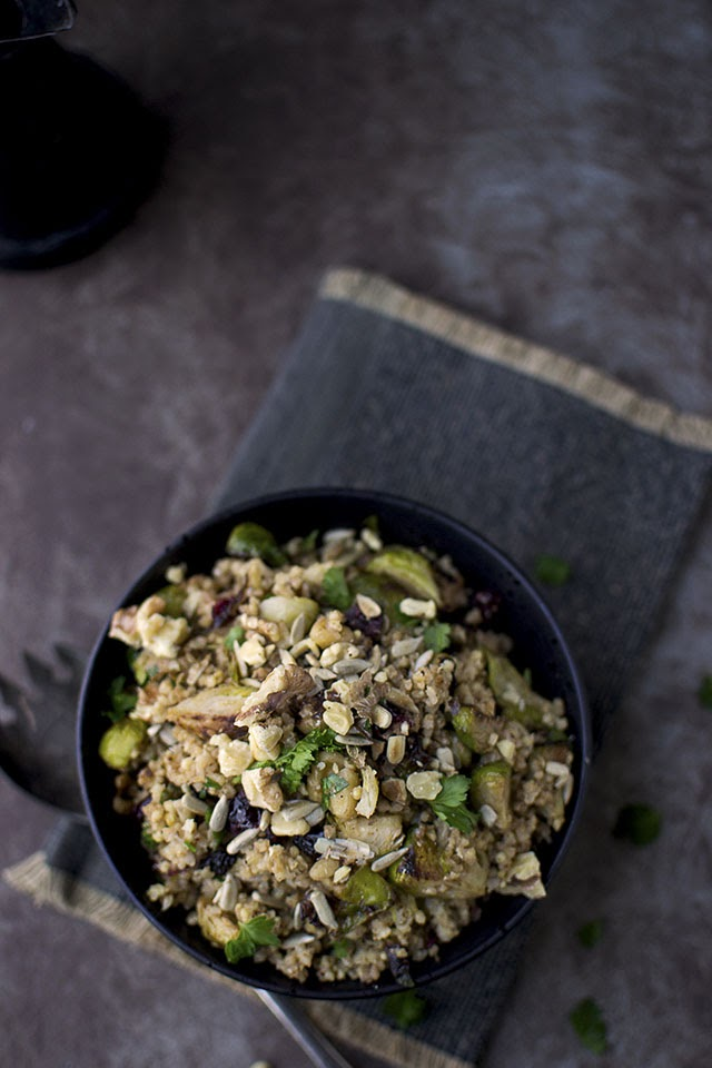 Millet Salad with Brussels Sprouts, dried Cranberries and Walnuts