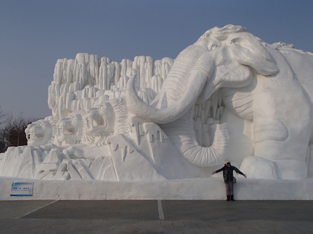 Snow Sculpture Art Expo Mammoth and Tigers