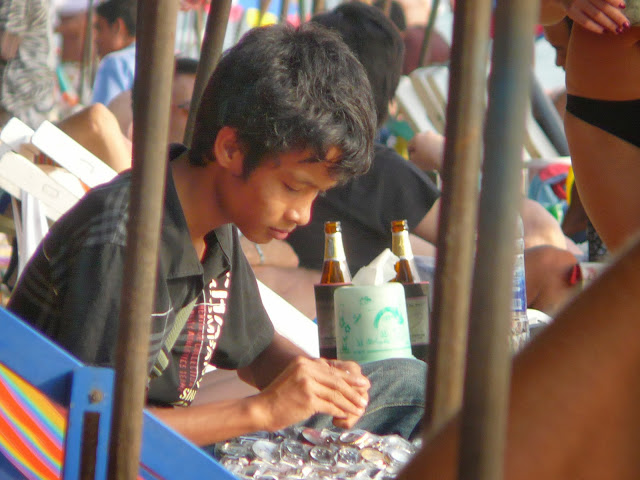 Young seller having a rest in Jomtien at Jomtien gay beach