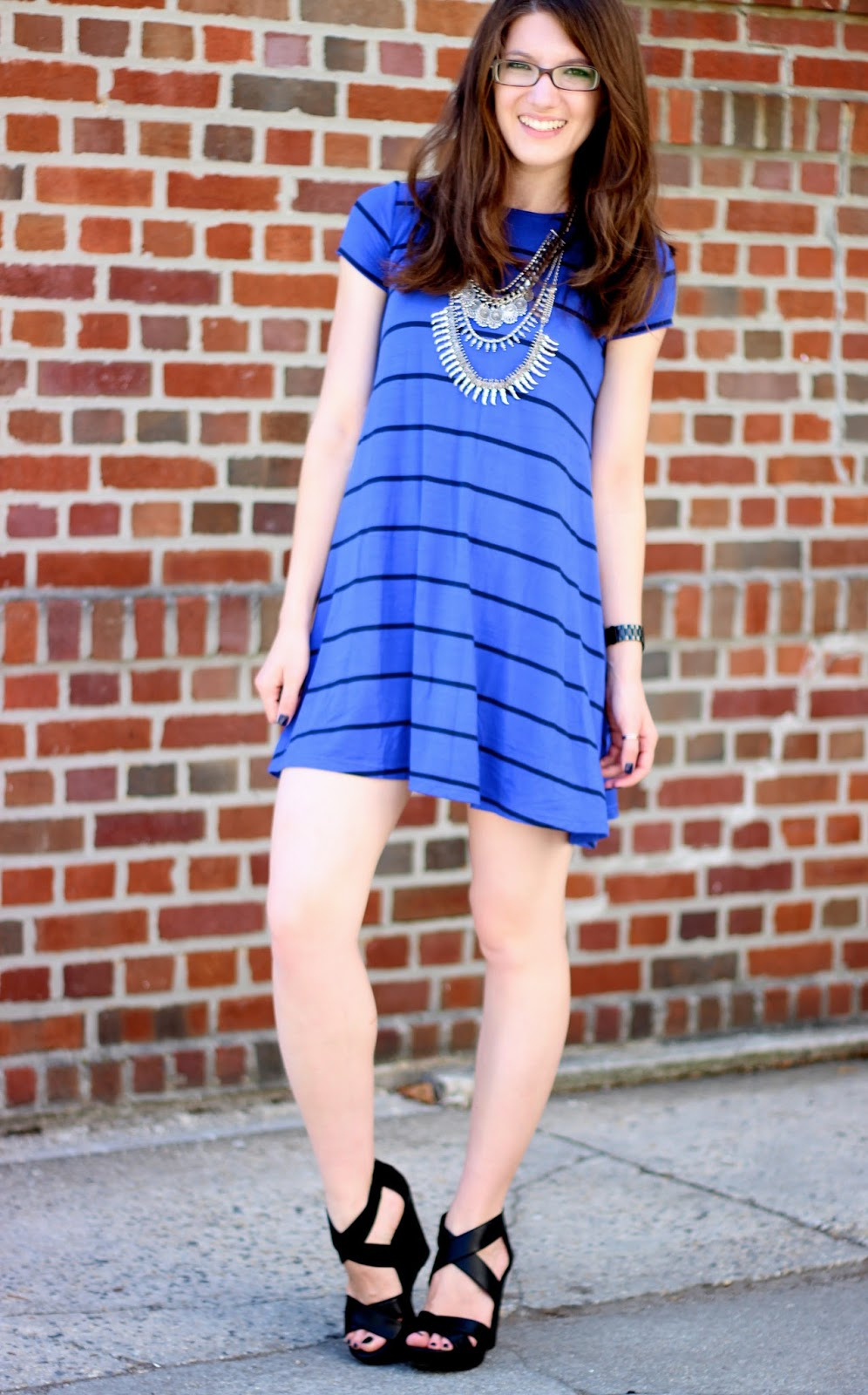 a Blue Striped Dress