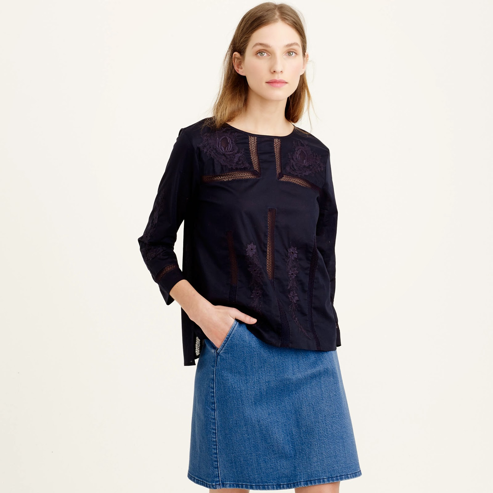 j crew embroidered lace top on sale