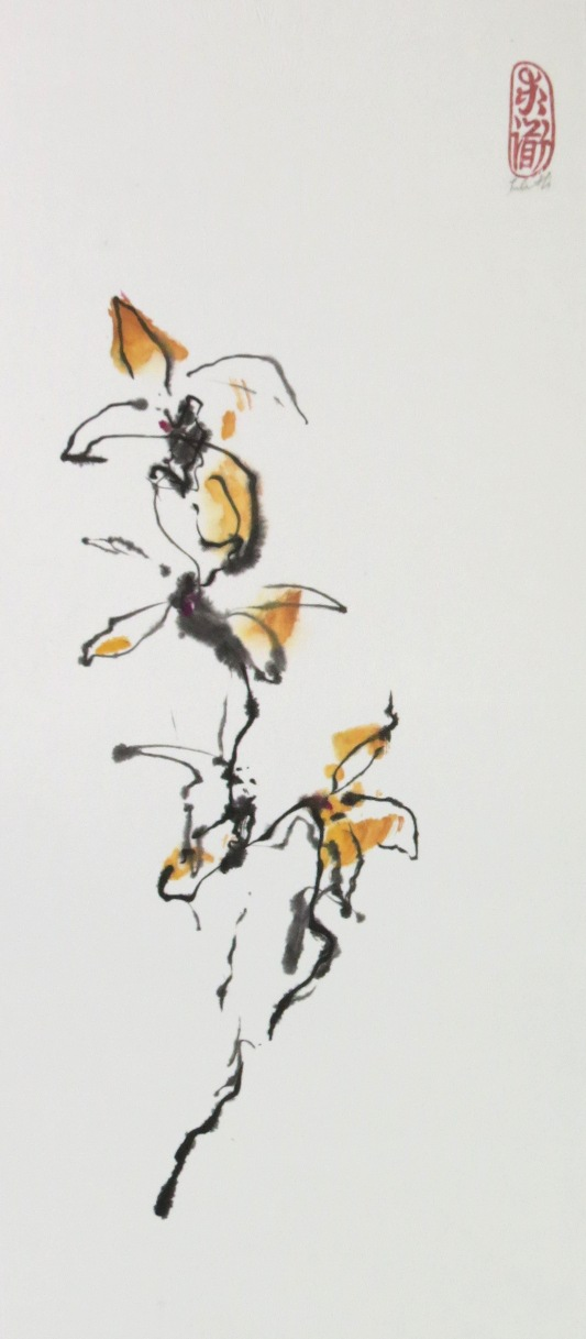 "Never Exhausting Emptiness ""Tao Te Ching"" verse 5 For Artists blog illustration of sumi-e painting of yellow flower"