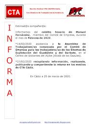 C.T.A. INFORMA CRÉDITO HORARIO MANUEL FERNANDEZ, FEBRERO 2020