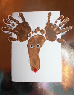 hand print foot print reindeer Christmas card