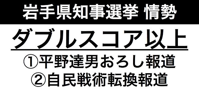 8月20日の岩手県知事選の告示日が迫る中、ついに選挙情勢報道が本格派し始めた。達増拓也知事と平野達男の差がダブルスコア以上という情勢調査が出たために、平野達男おろしが行われているというゲンダイの報道が1つ。日本経済新聞の自民党本部の戦術転換の報道だ。この2つの報道は符合している。