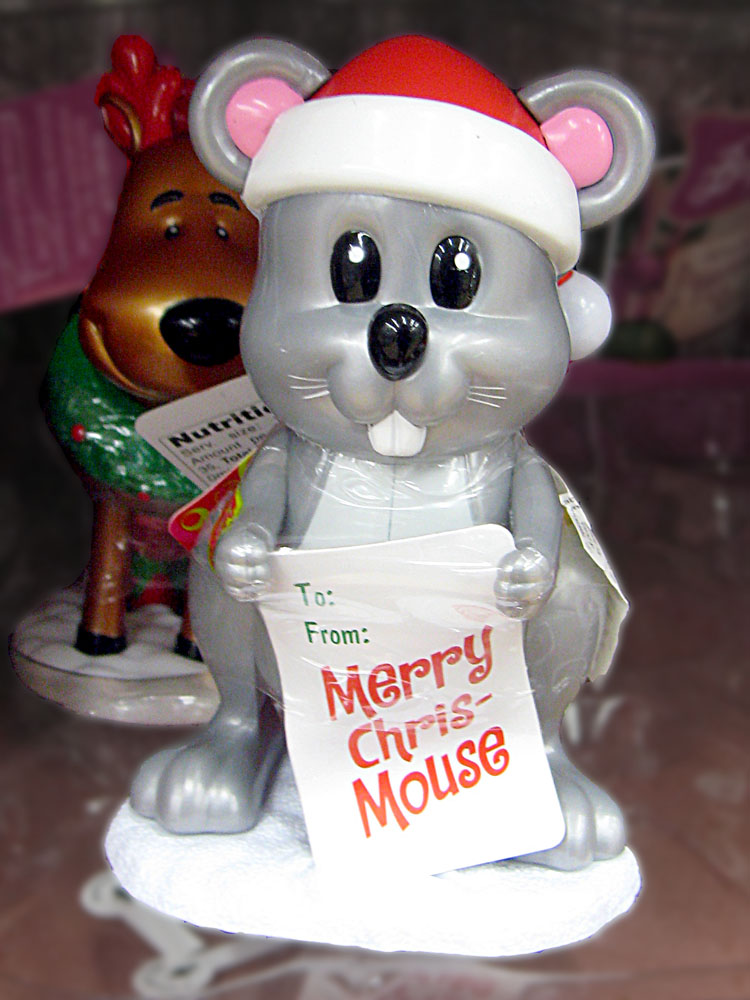 A Christmas decoration - the Chris-mouse, with a dopey reindeer looking over its shoulder