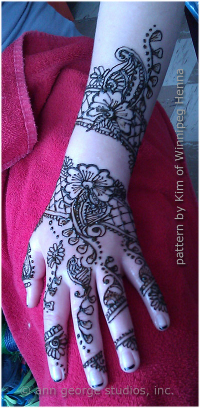 Lovely Henna Pattern for Hand and Arm from Winnipeg Henna