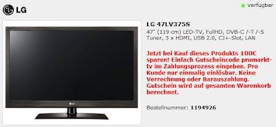 47 Zoll LED-TV LG 47LV375S bei ProMarkt für 649,99 Euro inklusive Versandkosten
