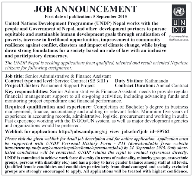 Senior Administrative & Finance Assistant In UNDP