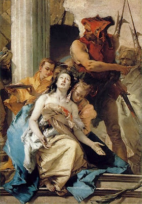 Imagen de Santa Agueda auxiliada por una mujer despues de que le han cortado los pechos.