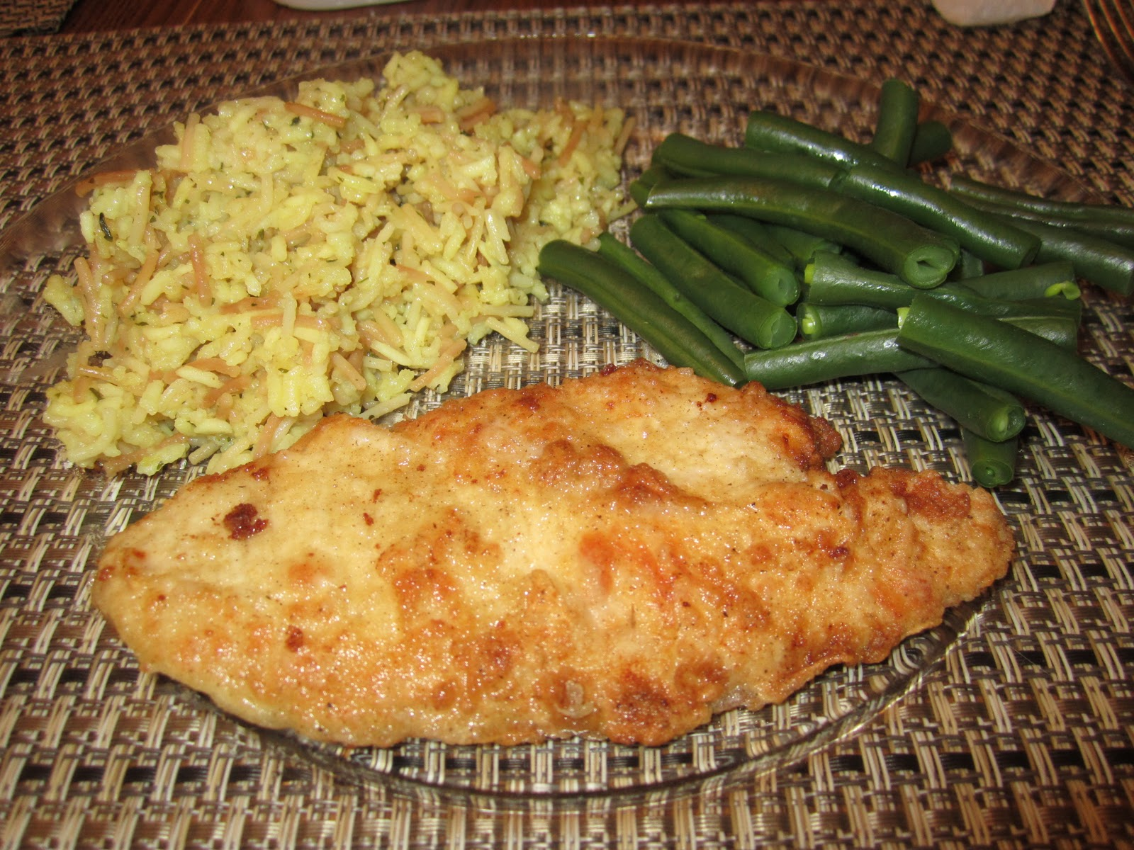 Dinner recipe chicken scallopini steamed green beans and rice dinner recipe chicken scallopini steamed green beans and rice forumfinder Choice Image