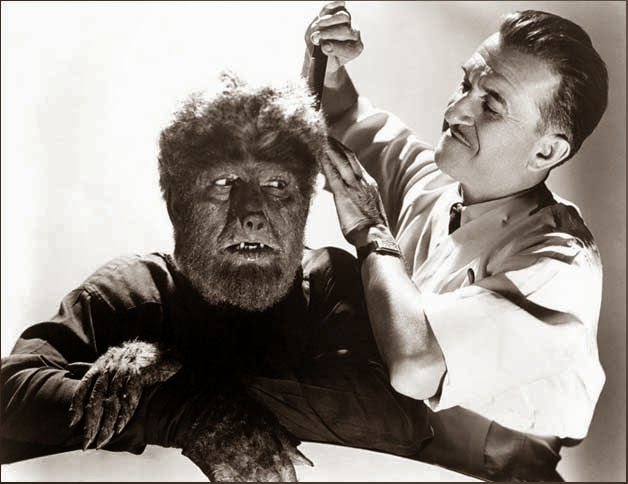 Lon Chaney Jr. & Jack Pierce in Frankenstein Meets the Wolf Man