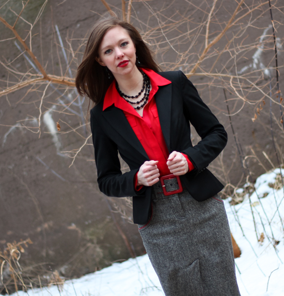 Red Blouse, Black Blazer, Tweed Skirt | StyleSidebar