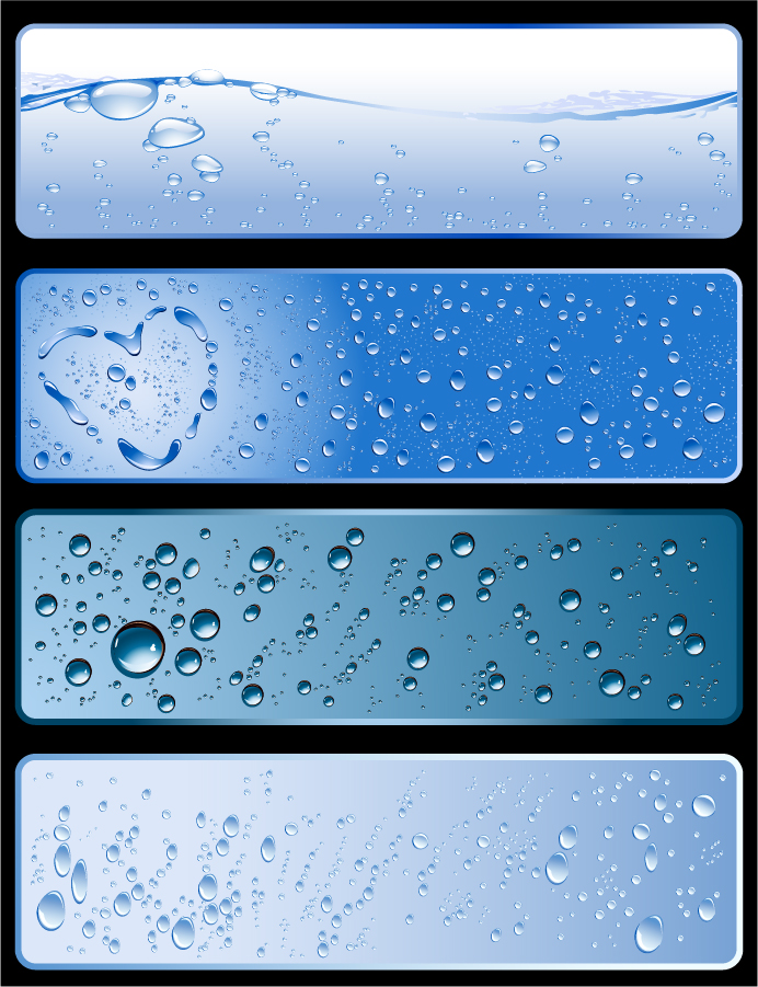 リアルな水滴が美しいバナー見本 water theme banner イラスト素材
