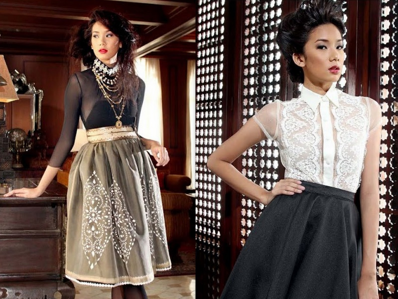 8280794e54 ... silk organdy by Danilo Franco (Right) Feminine blouse in floral lacey  details based on men s formal Barong Tagalog and bias-cut full skirt by JC  Buendia
