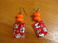 Red and Orange Confetti Glass Earrings by hotGlued