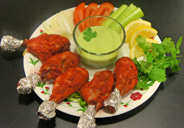 Tandoori Chicken In The Oven With Coriander Yogurt Dip