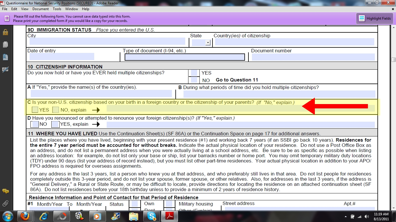 Standard form 86 security clearance