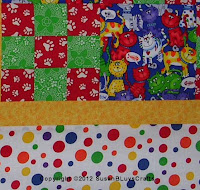 fabrics in quilt top