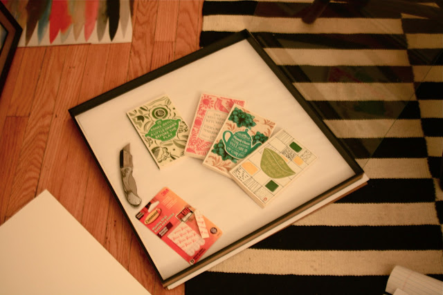 shadowbox and book project using Coralie Bickford-Smith designs