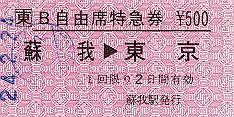 JR東日本 常備軟券B自由席特急券 蘇我→東京 蘇我駅発行