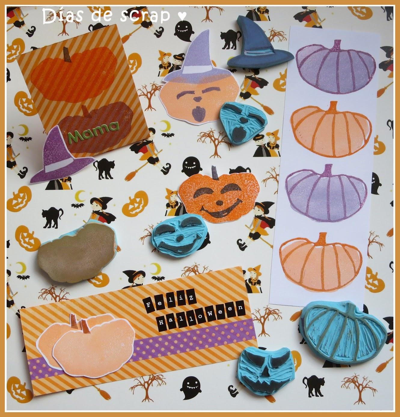 scrap carvado de sellos de calabazas de Halloween