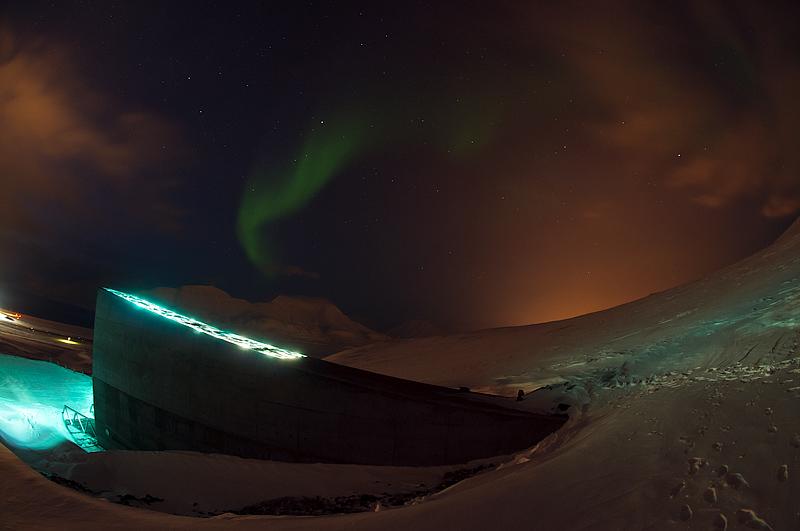 maailma seemnepank Teravmägedel, virmalised, Global Seed Vault, aurora borealis