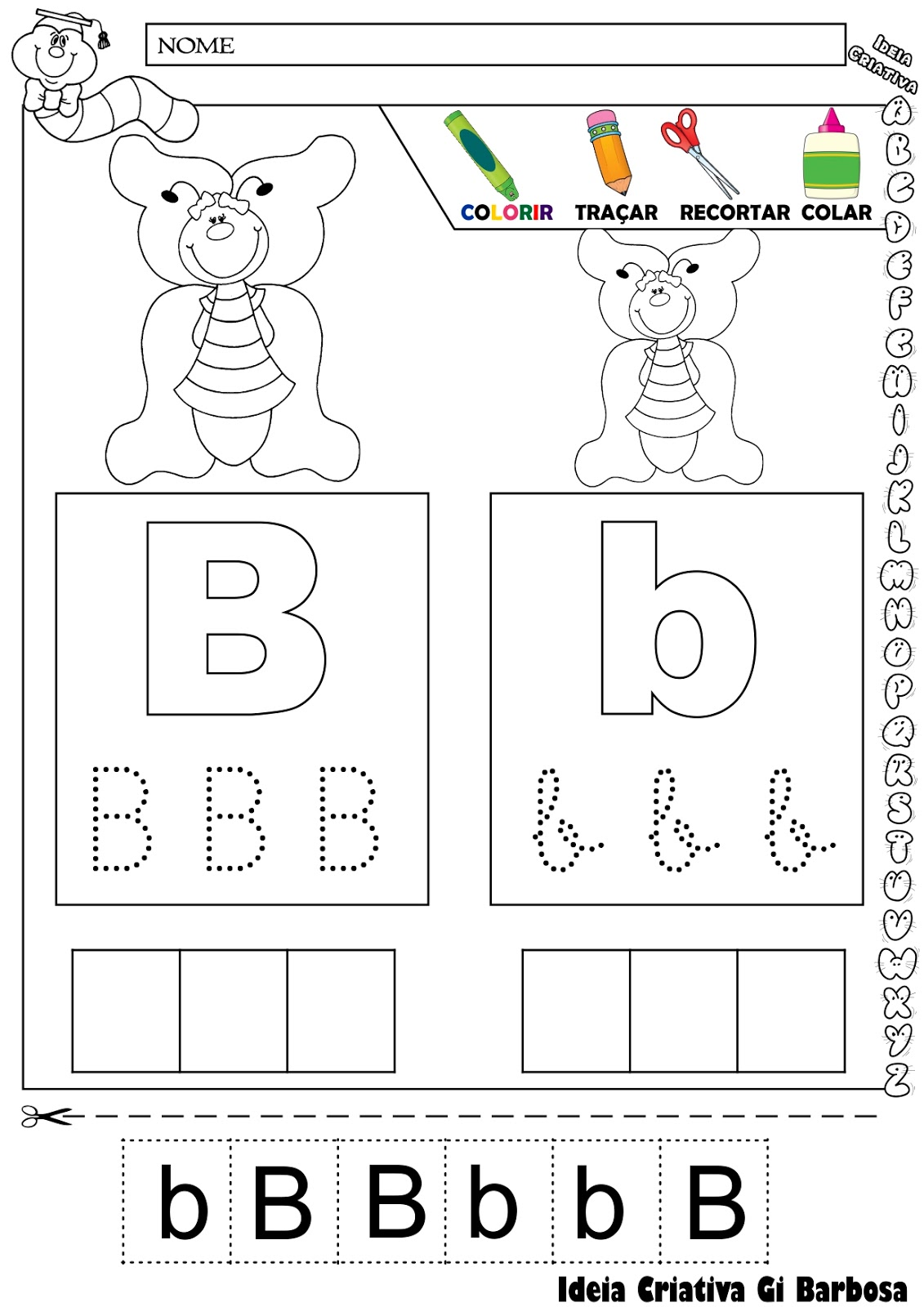 Atividade Letra B Colorir Traçar Recortar e Colar
