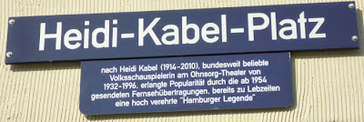 Heidi Kabel plaza sign near Hamburg's Central Station