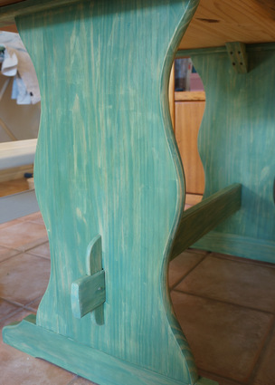 green wood grained trestle table wood wash