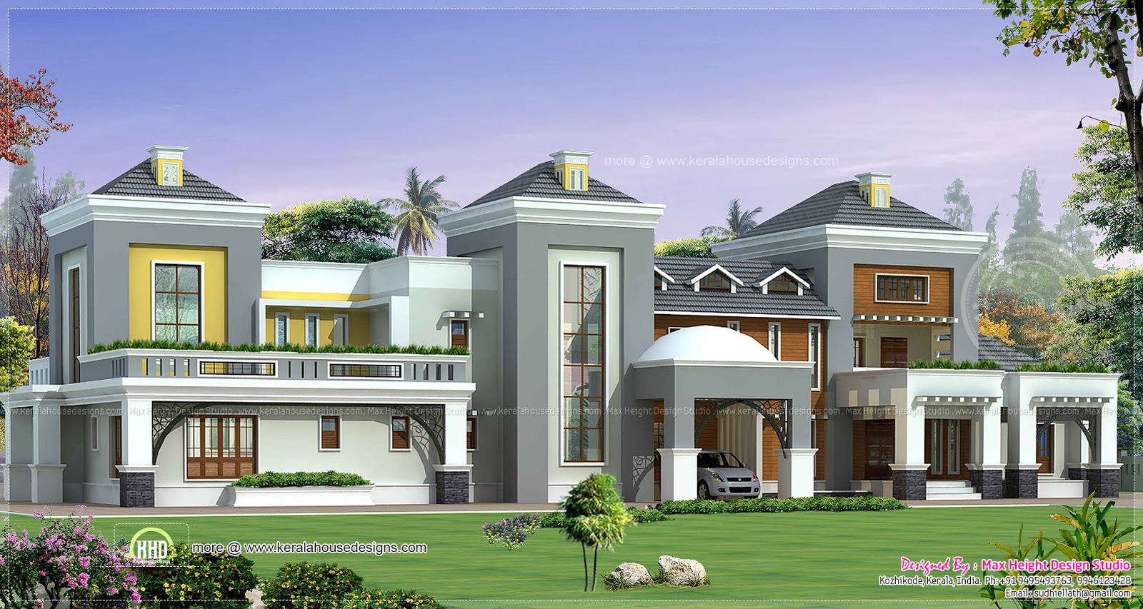Luxury house plan with photo home kerala plans Mansion house designs