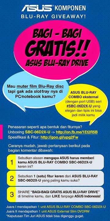 Kuis Bagi-Bagi ASUS Blu-Ray Drive Gratis