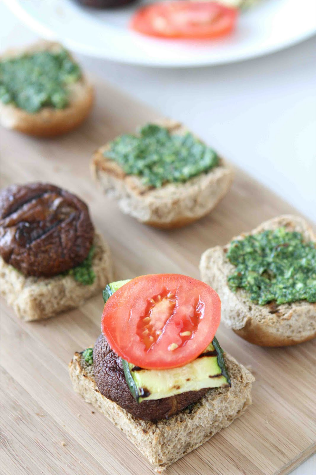 Grilled Mushroom Sliders with Zucchini and Spicy Cilantro Almond Pesto